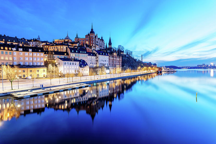 Stockholm Photograph - Perfect Sodermalm and Mariaberget blue hour reflection by Dejan Kostic