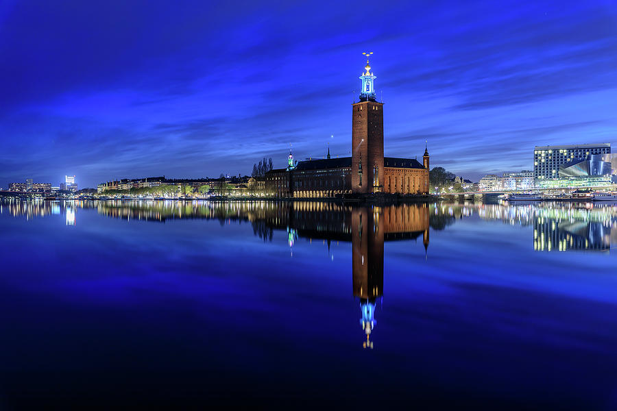 Stockholm Photograph - Perfect Stockholm City Hall Blue Hour Reflection by Dejan Kostic