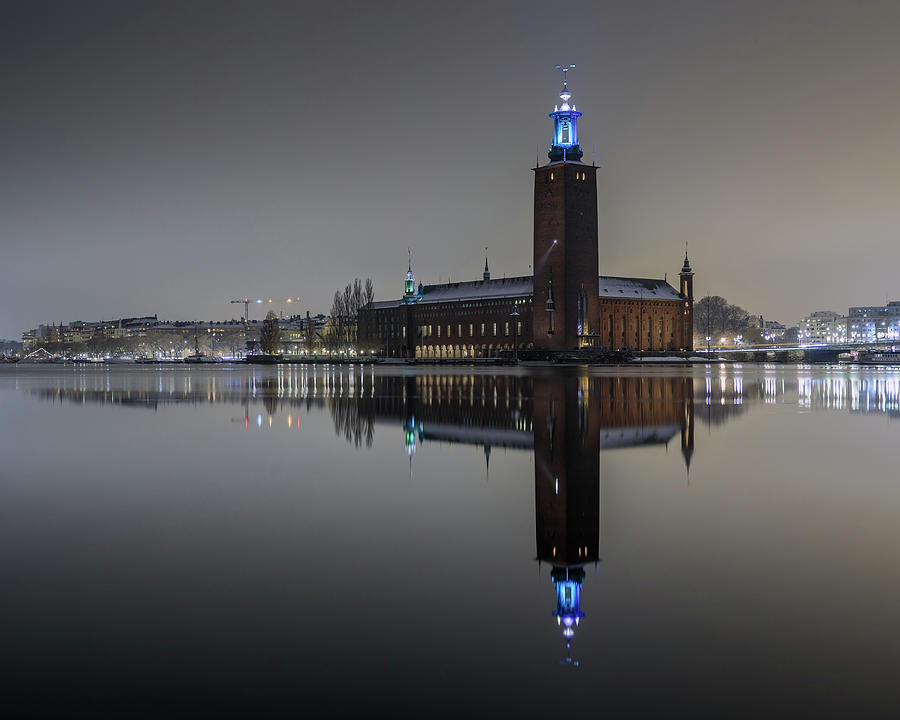 Stockholm Photograph - Perfect Stockholm City Hall Night Reflection by Dejan Kostic