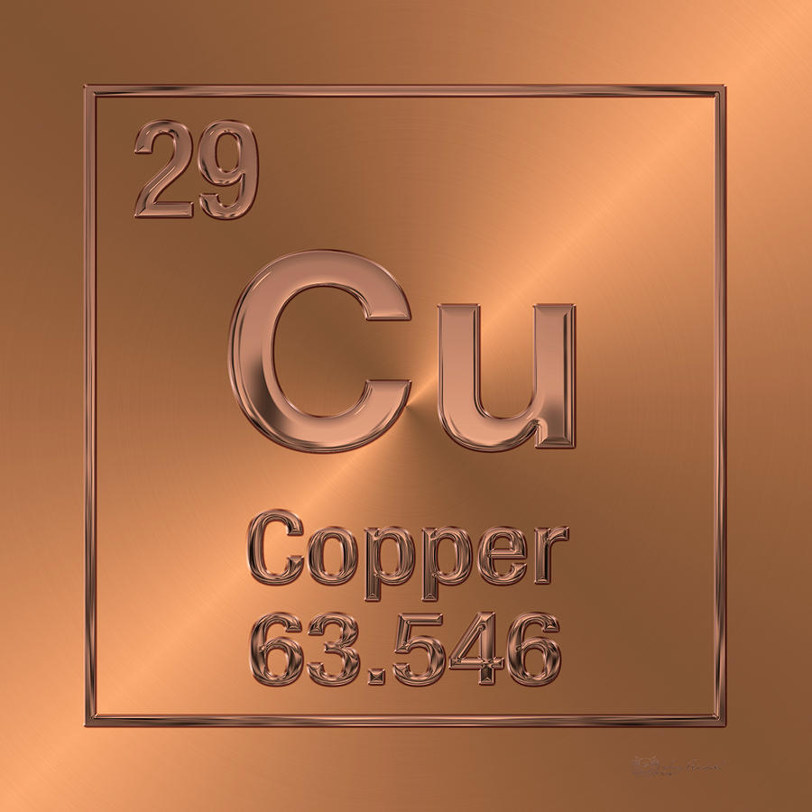 chemistry digital art periodic table of elements copper cu by serge averbukh