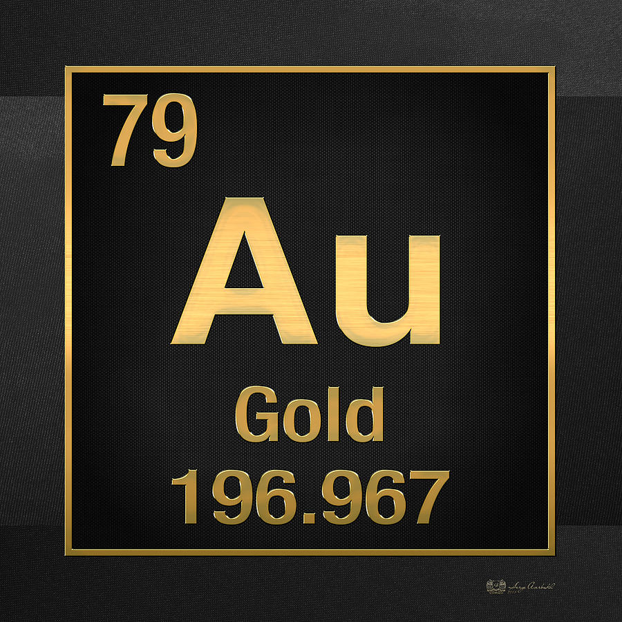 Periodic Table Of Elements Gold Au Gold On Black Digital Art