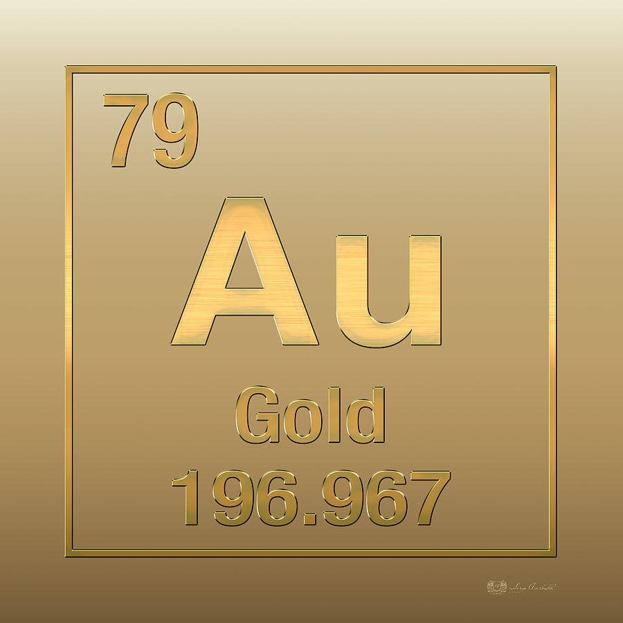 Periodic table of elements gold au gold on gold digital art by chemistry digital art periodic table of elements gold au gold on gold urtaz