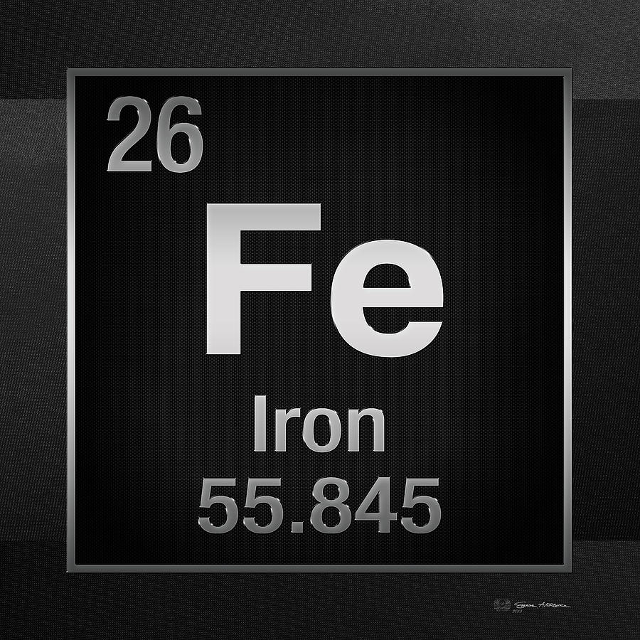 Periodic table of elements iron fe on black canvas by serge averbukh chemistry digital art periodic table of elements iron fe on black canvas by urtaz Images