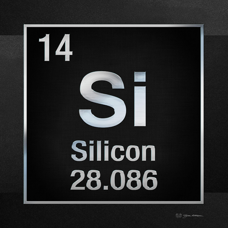 Periodic Table Of Elements Silicon Si On Black Canvas Digital