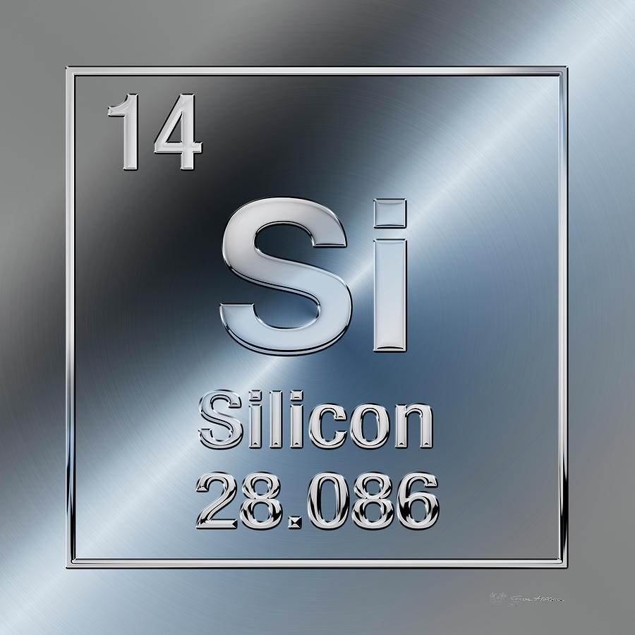 Periodic Table Of Elements Silicon Si Digital Art By Serge Averbukh