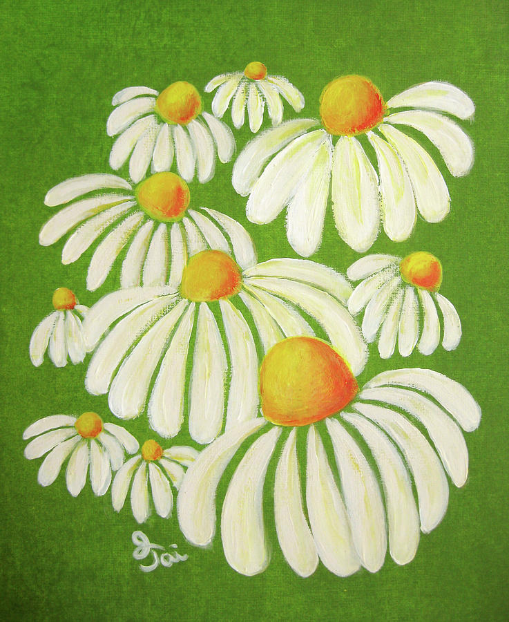 Daisy Painting - Perky Daisies by Oiyee At Oystudio
