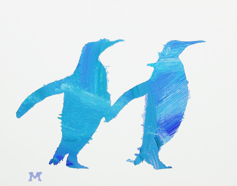 Horse Painting - Perky Penguins by Candace Shrope
