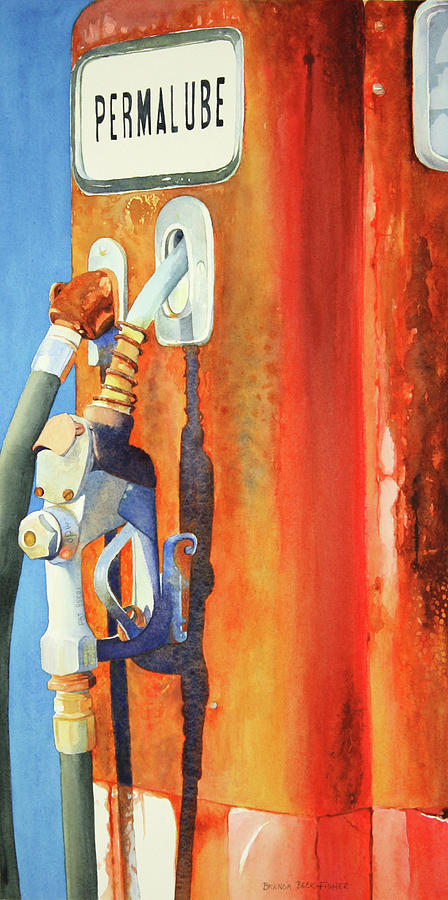 Old Gas Pump Painting - Perma Rust by Brenda Beck Fisher