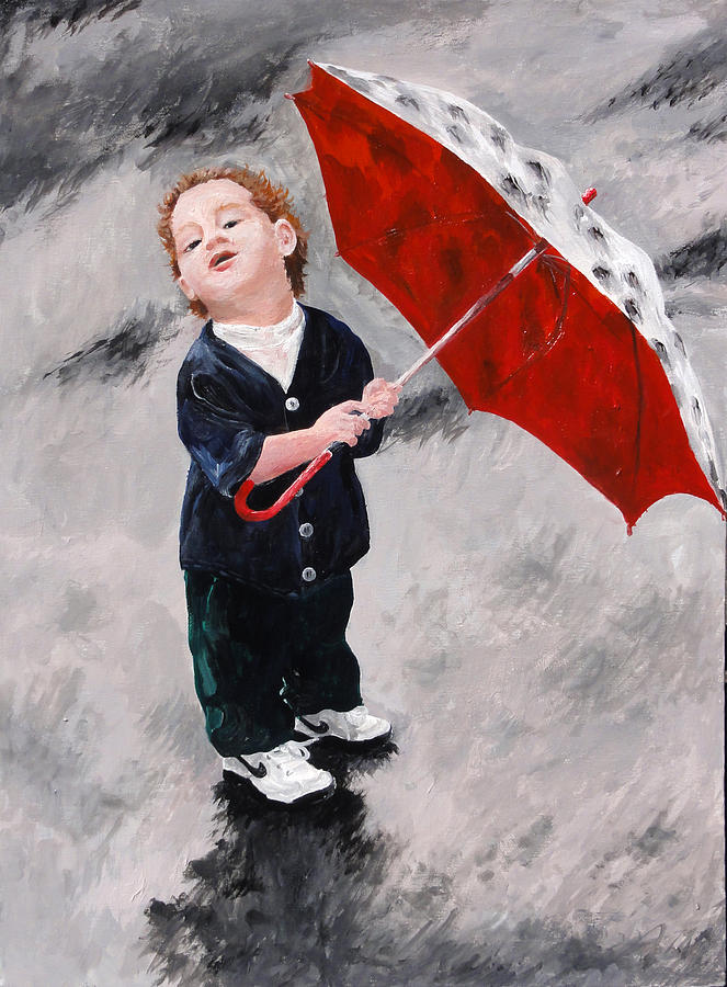 Young Boy Painting - Perry In The Rain by Denise H Cooperman