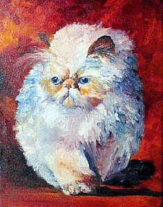 Cat Painting - Persian Fluffy Cat by Christy  Freeman