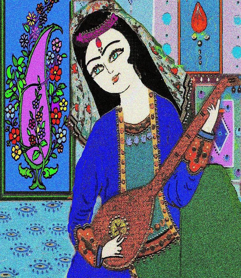 Drawing Digital Art - Persian Girl Playing Setar by Mehdi Mehrvarz