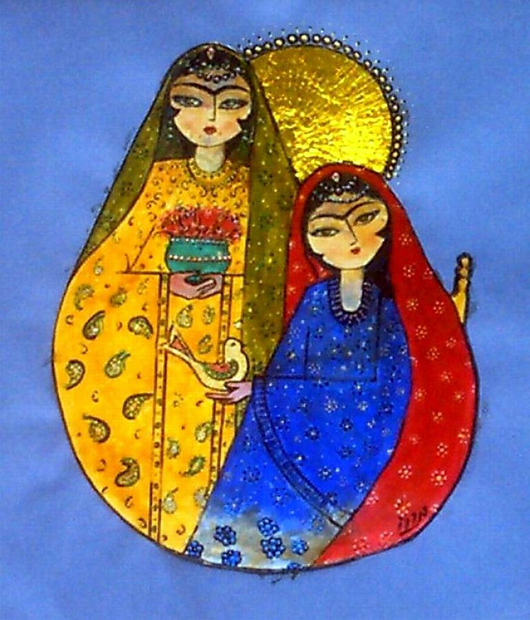 Mixed Painting - Persian Girls by Mehdi Mehrvarz