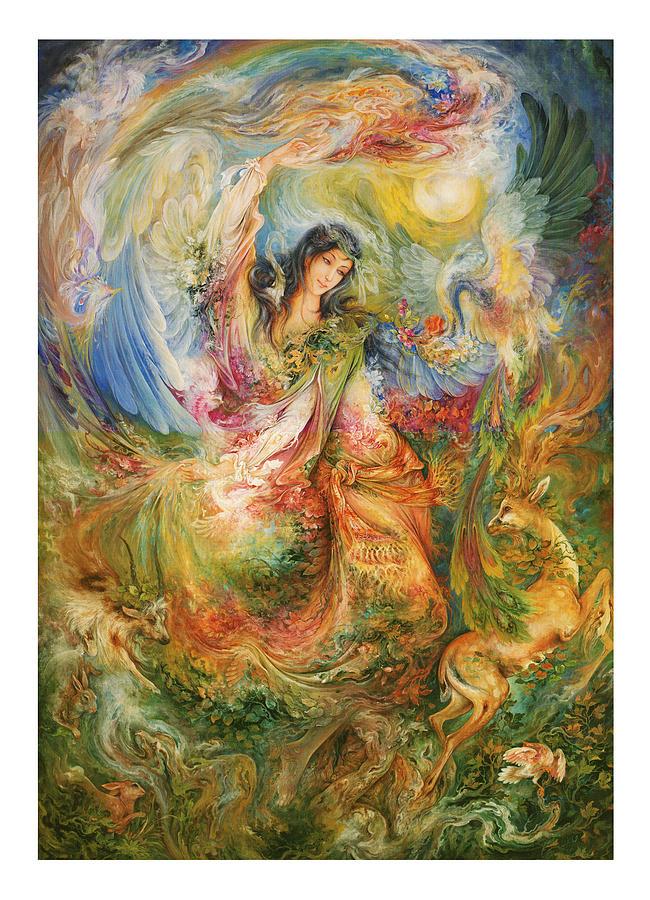 Mahmoud Farshchian Painting - Persian  Miniature Oil Painting DR28 by Salma