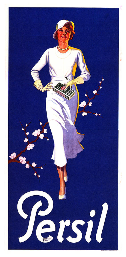 Persil -  Henkel - Lady In White - Laundry Detergent Advertisement - Vintage Advertising Poster Mixed Media