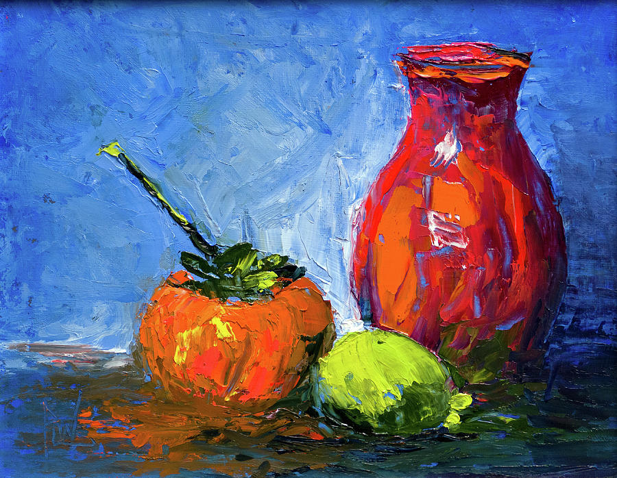 Still Life Painting - Persimmon And Fijoa by Philip Lodwick Wilkinson