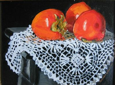 Persimmons Painting by Margie Guyot
