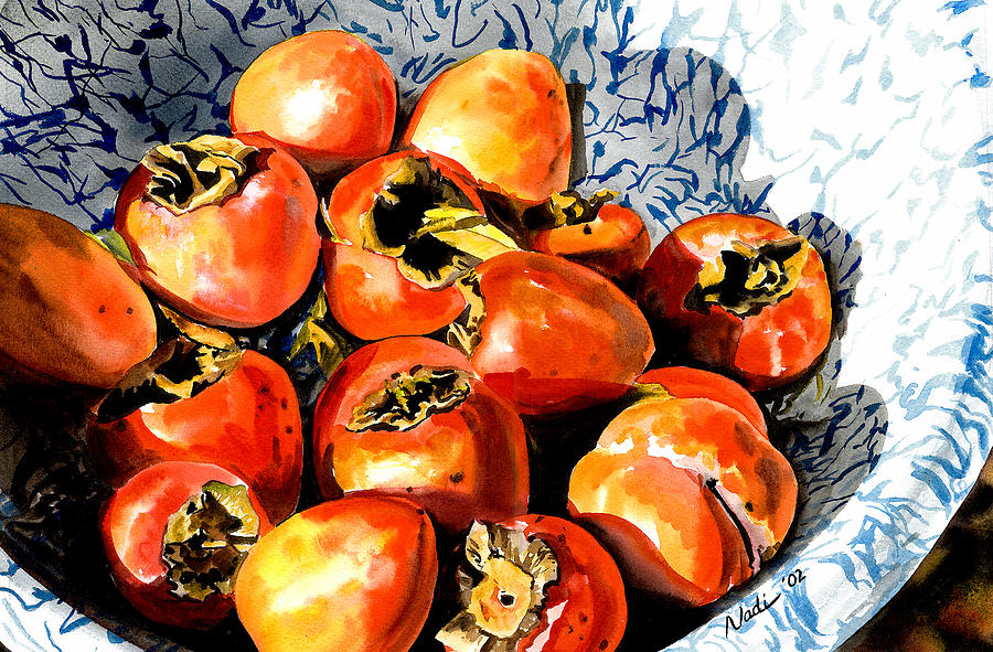 Food Painting - Persimmons by Nadi Spencer