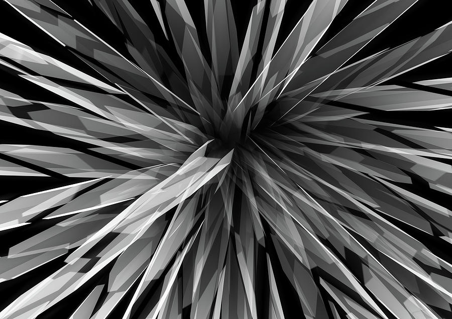 Black And White Digital Art - Perspective Facets by Kris Haney Sirk Designs Ltd
