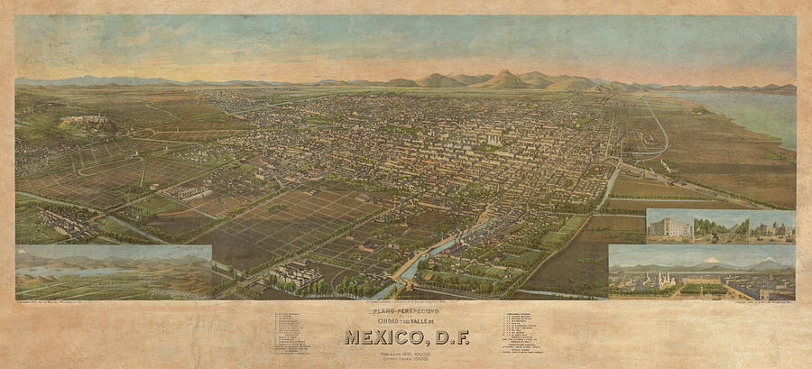 Perspective Map Of The City And Valley Of Mexico Painting By Henry