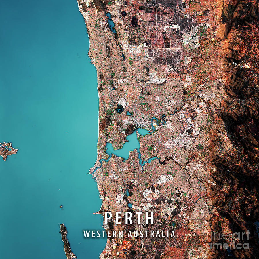 Perth 3d Render Satellite View Topographic Map