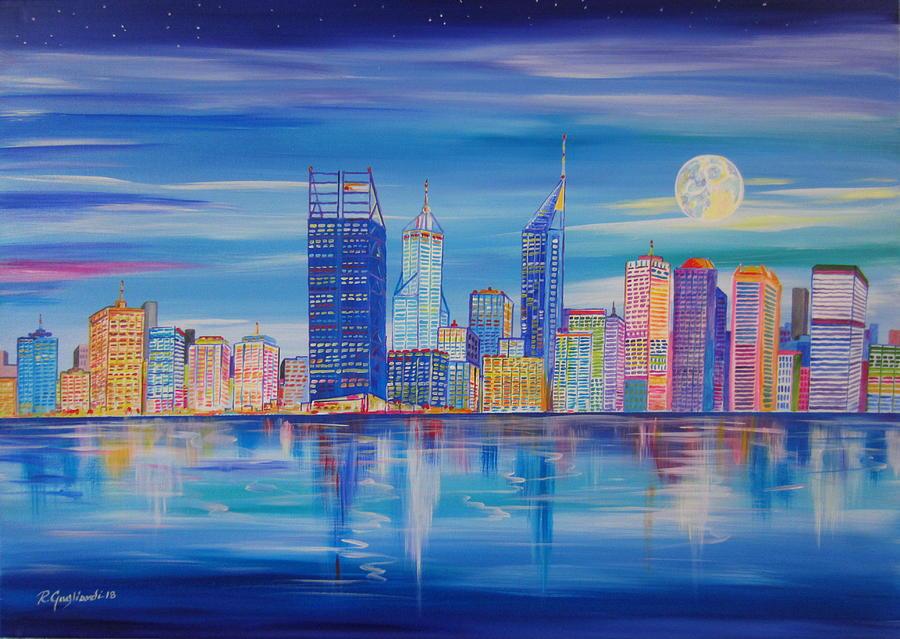 Perth Skyline at evening  by Roberto Gagliardi