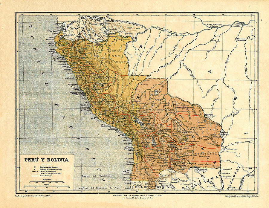 Peru And Bolivia Historical Map Digital Art by Carambas ...