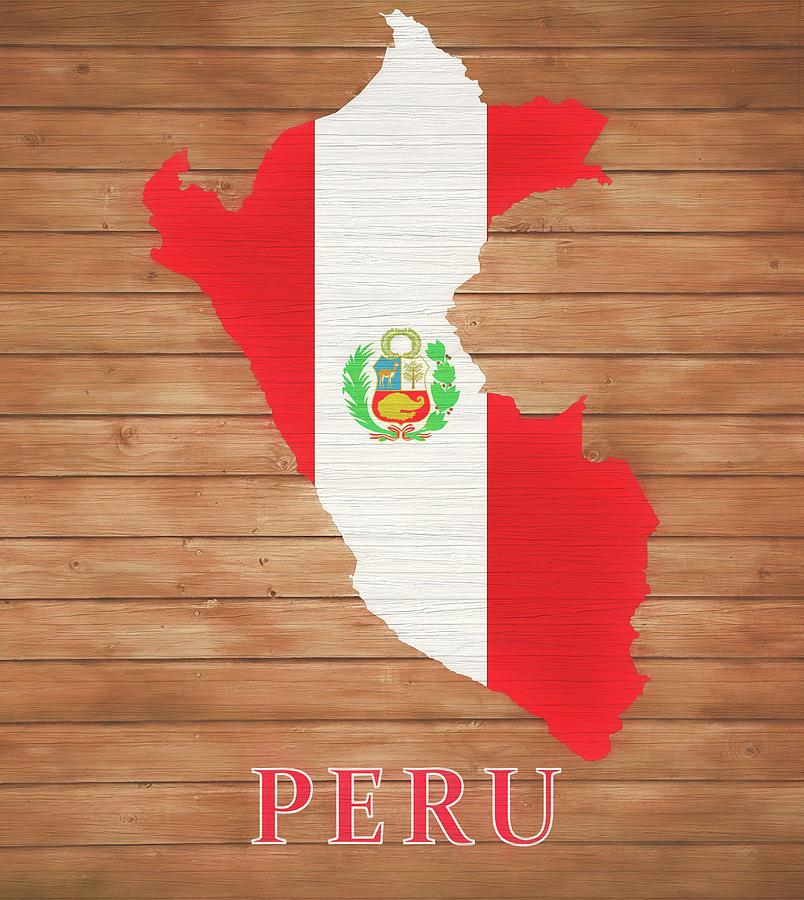 Peru Map Mixed Media - Peru Rustic Map On Wood by Dan Sproul