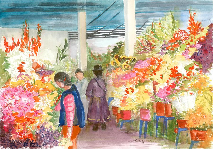 Peruvian Flower Market Painting By Nancy Brennand