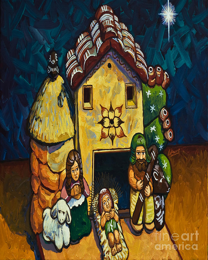 Peruvian Nativity - Lwpen Painting by Lewis Williams OFS