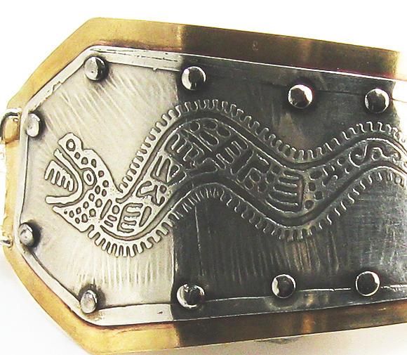 Sterling Silver Bracelet Jewelry - Peruvian Serpent Etched Silver Bracelet by Virginia Vivier