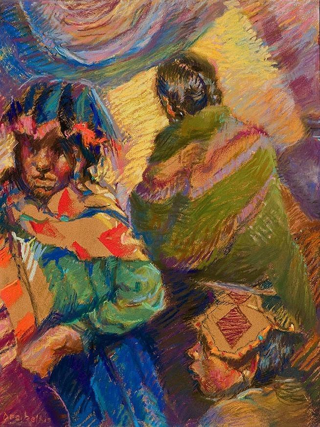 Peru Painting - Peruvian Village Scene by Ellen Dreibelbis