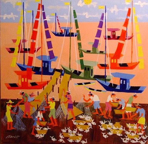 Pescadores Medida 60x60 A.s.t Painting by Aecio  Andrade