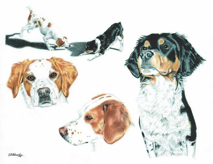 Dogs Painting - Pet Impressions- Mothers Dogs by Kyle Adamache
