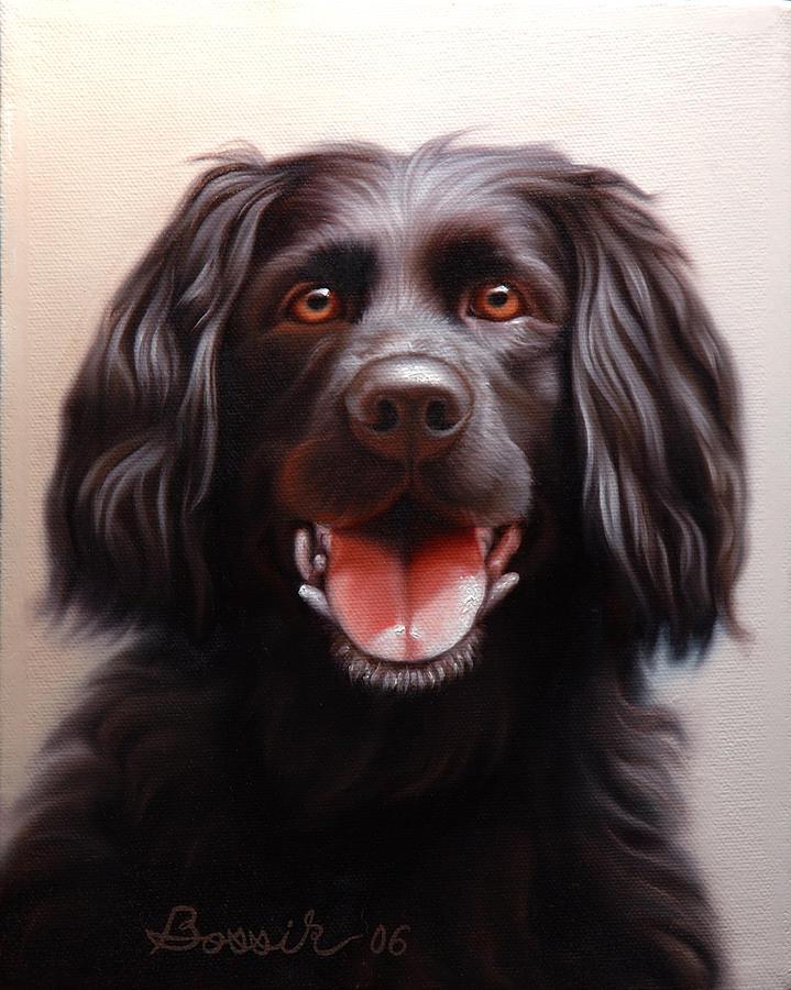 Black Labrador Painting - Pet Portrait of a Black Labrador by Eric Bossik