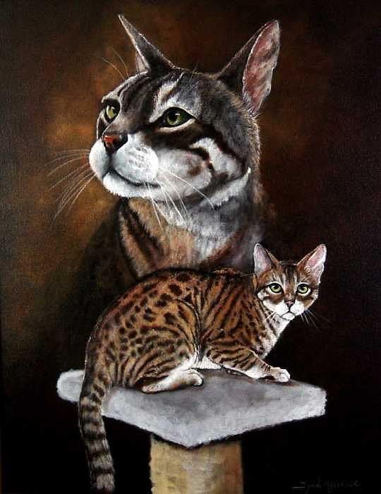 Cats Painting - Pet Portraits by Syndi Michael