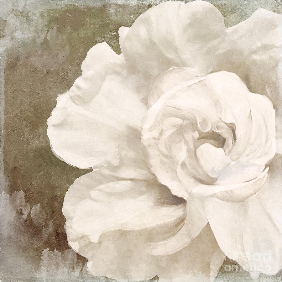 White Flower Painting - Petals Impasto II by Mindy Sommers