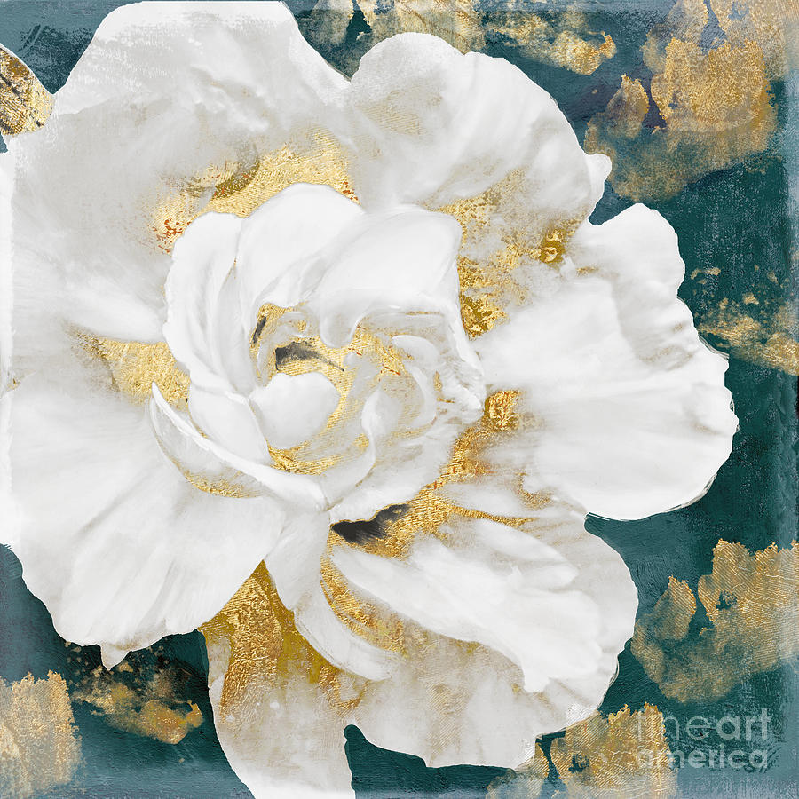 Petals Impasto White And Gold Painting By Mindy Sommers