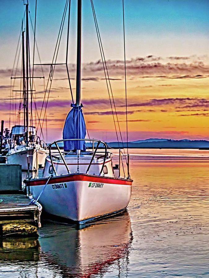 boat photograph petaluma river sunrise by bill gallagher
