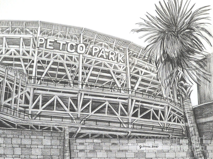 Petco Park Drawing - Petco Park by Juliana Dube