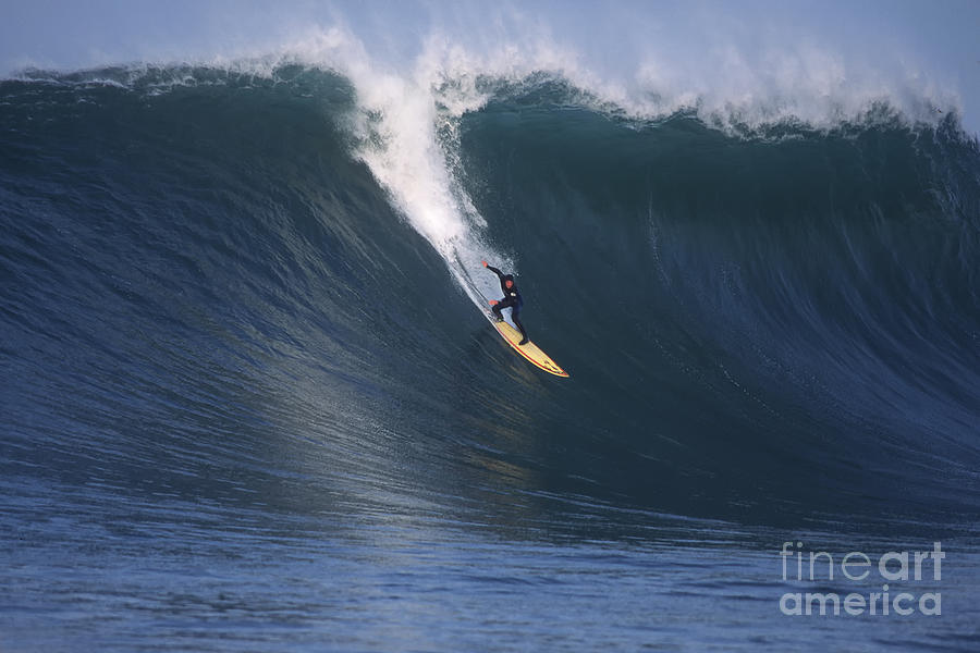 Mavericks Photograph - Pete On A Glassy Wall by Stan and Anne Foster