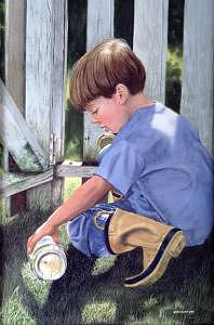 Boy Painting - Peter by Pat Aube Gray