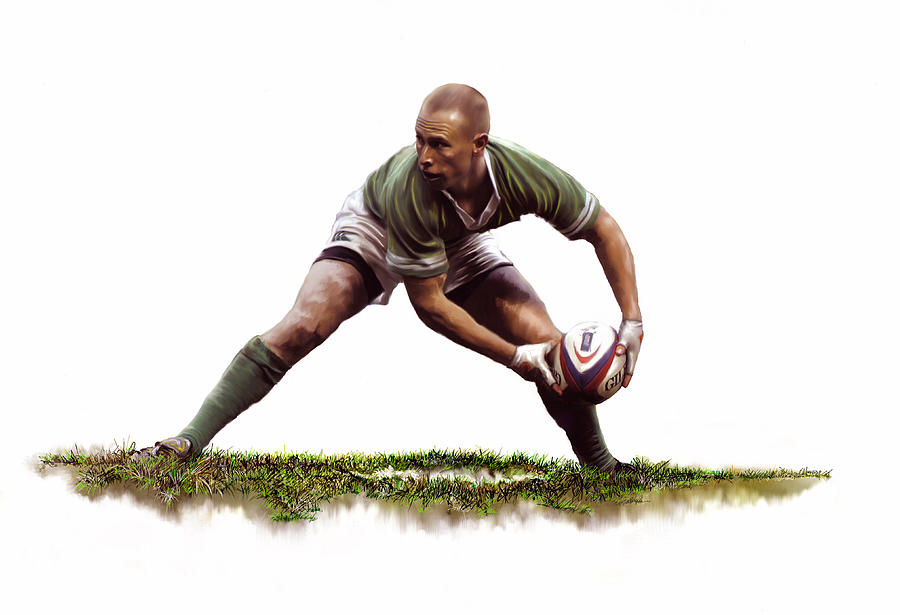 Rugby Painting - Peter Stringer by James Robinson