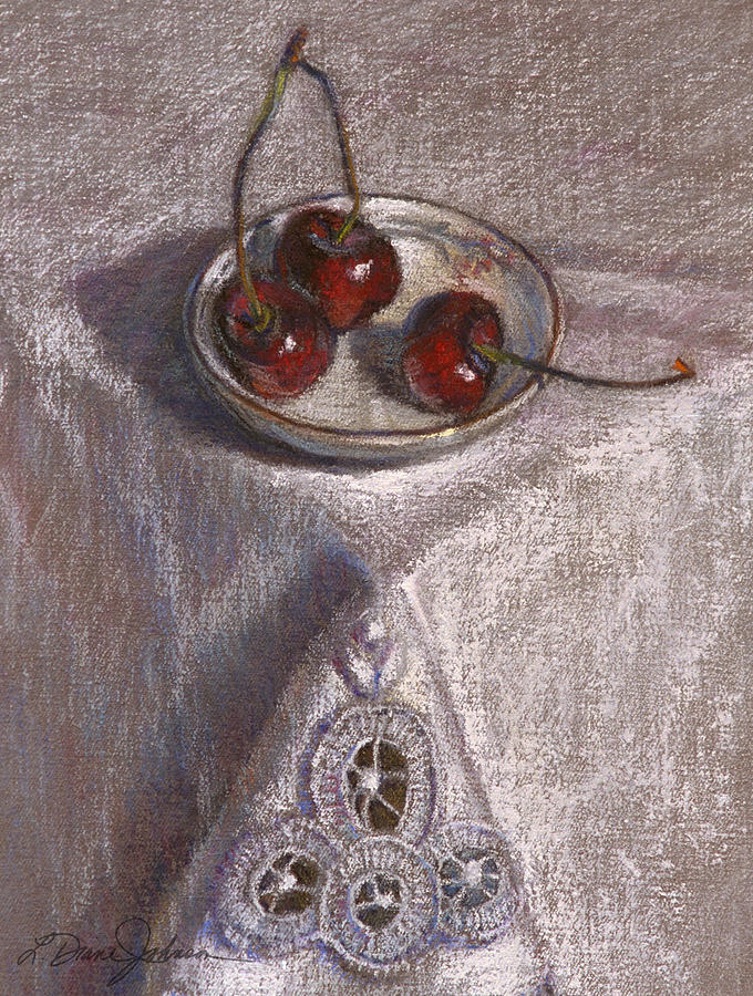 Red Cherries Painting - Petite Bowl IIi by L Diane Johnson