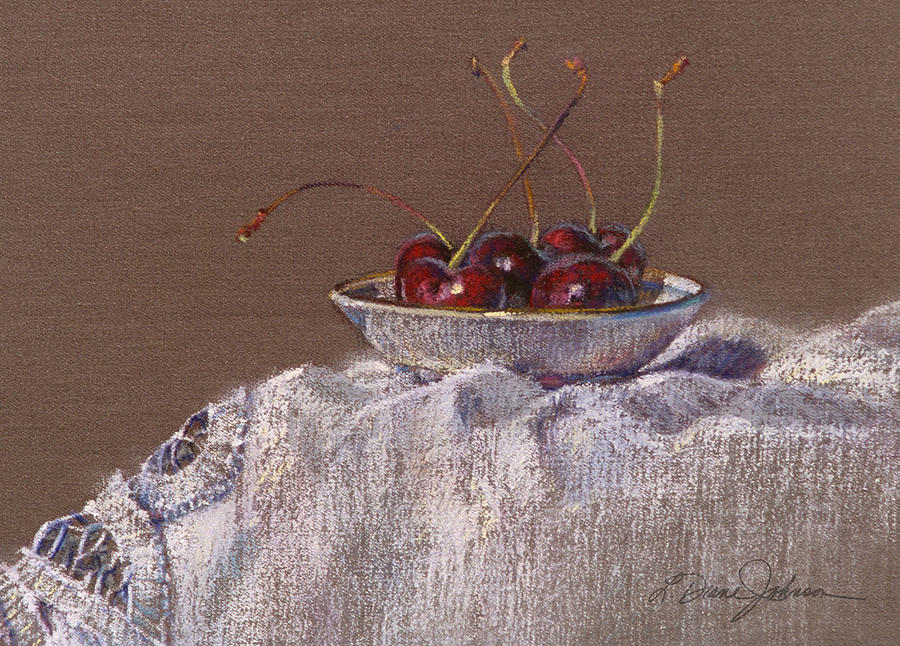 Red Cherries Painting - Petite Bowl Iv by L Diane Johnson