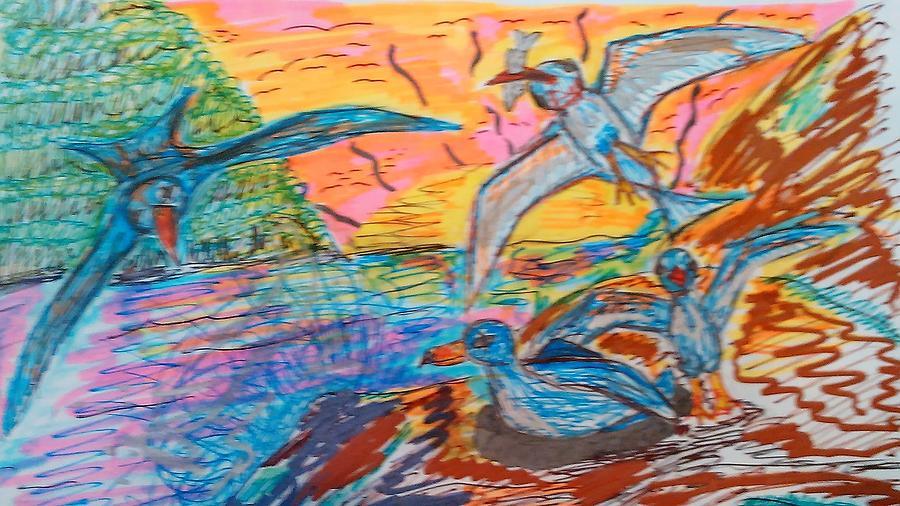 Petrels Mixed Media - Petrels by Andrew Blitman