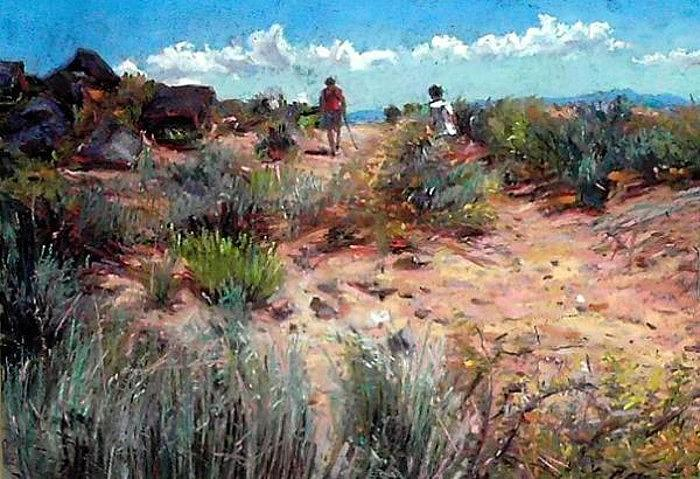 Petroglyph Hikers Painting by Cameron Hampton P S A