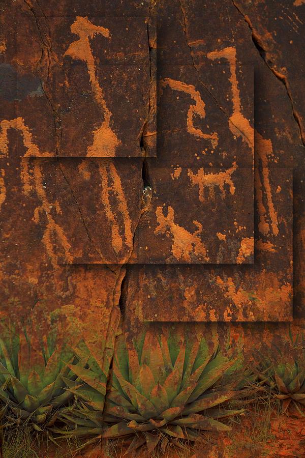Petroglyphs Photograph - Petroglyphs Agave by Bob Coates