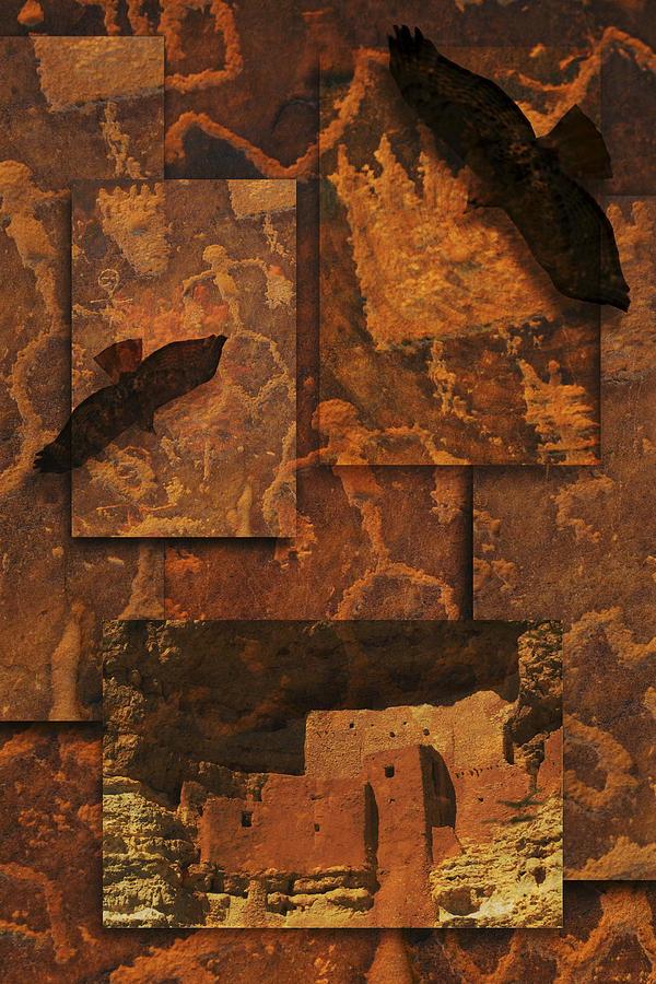 Petroglyphs Photograph - Petroglyphs Red Tailed Hawk by Bob Coates