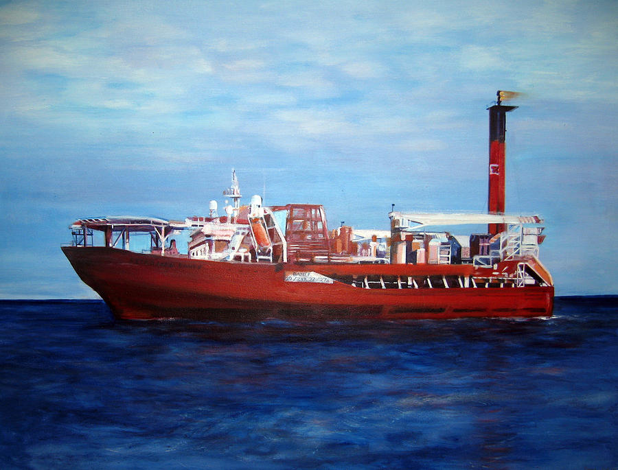 Ship Painting - Petrojarl Banff by Fiona Jack