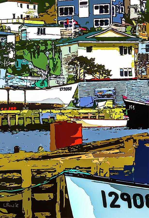 Boats Painting - Petty Harbor by Bill Linn